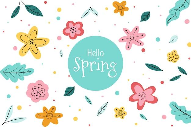 Ręcznie rysowane tło wiosna z kwiatem
