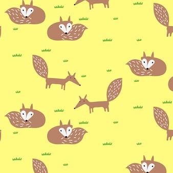 Ręcznie rysowane tło wzór ładny lis