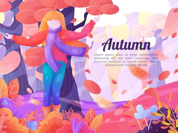Ręcznie rysowane tło z jesiennym krajobrazem