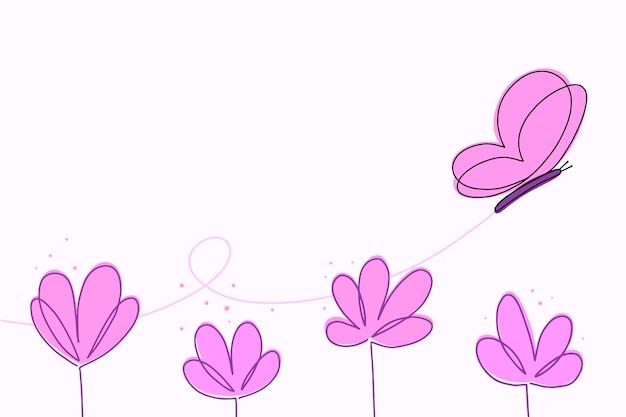 Ręcznie rysowane tło zarys motyla