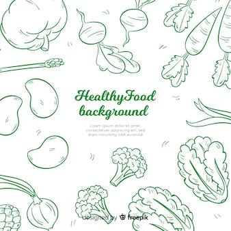Ręcznie rysowane tło zdrowej żywności