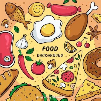 Ręcznie rysowane tło żywności
