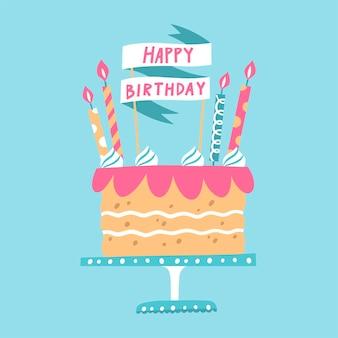 Ręcznie rysowane tort urodzinowy z nakładką