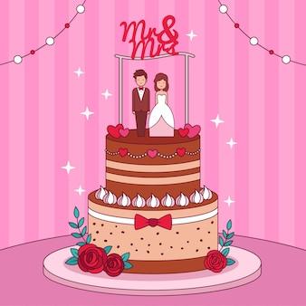Ręcznie rysowane tort weselny z nakładką