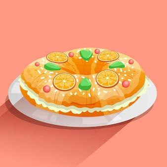 Ręcznie rysowane tradycyjne ciasto trzech króli