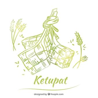 Ręcznie rysowane tradycyjnej kompozycji ketupat