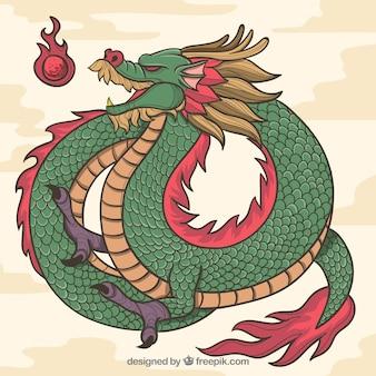 Ręcznie rysowane tradycyjny chiński smok