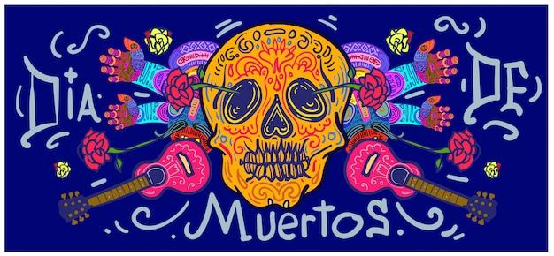 Ręcznie rysowane transparent dia de muertos