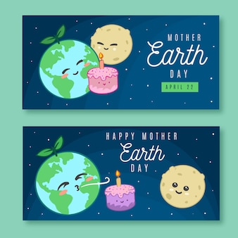 Ręcznie rysowane transparent dzień matki ziemi