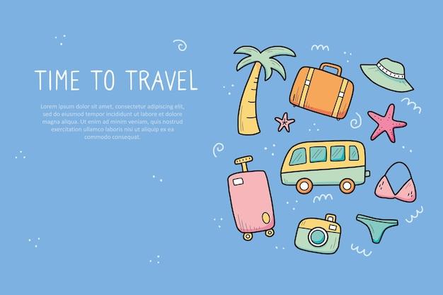 Ręcznie rysowane transparent elementów wakacji letnich podróży
