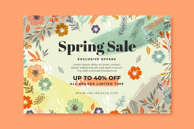 Ręcznie rysowane transparent sprzedaż wiosna