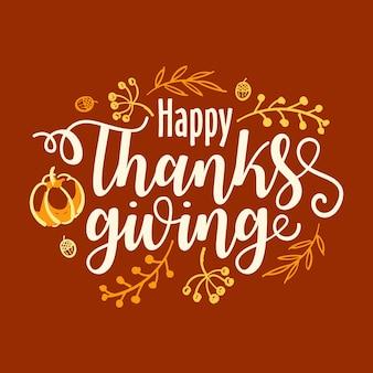 Ręcznie rysowane transparent typografia szczęśliwy święto dziękczynienia.