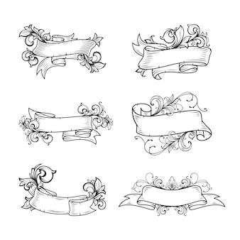 Ręcznie rysowane transparent zestaw z baroku kwiatowy