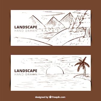 Ręcznie rysowane transparenty krajobrazu