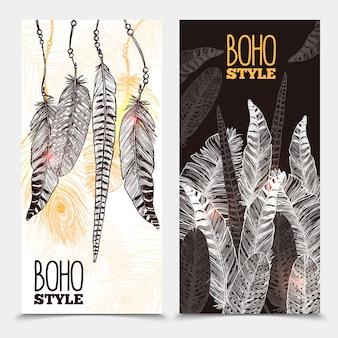 Ręcznie rysowane tribal pionowe banery