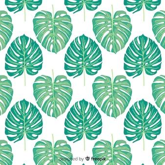 Ręcznie rysowane tropikalny liści tło