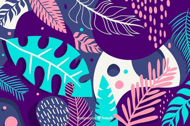 Ręcznie rysowane tropikalny tło kwiatowy