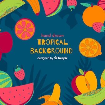 Ręcznie Rysowane Tropikalny Tło Darmowych Wektorów