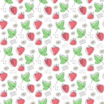 Ręcznie rysowane truskawka wektor wzór. jagody, liście.