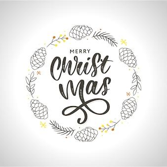 Ręcznie rysowane tuszem boże narodzenie wieniec z guzem, gałęzie jodły, ozdoby świąteczne.