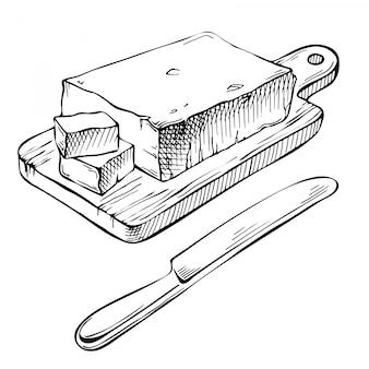 Ręcznie rysowane tuszem masło.
