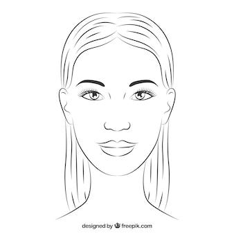 Ręcznie rysowane twarz kobiety