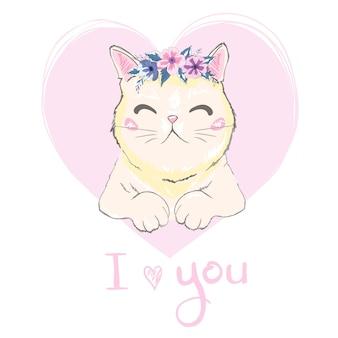 Ręcznie rysowane twarz słodkiego kota, mówiąc, że cię kocham