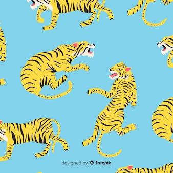 Ręcznie rysowane tygrys tło wzór