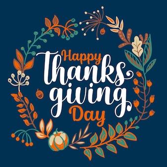 Ręcznie rysowane typografii happy thanksgiving w transparent wieniec jesień.