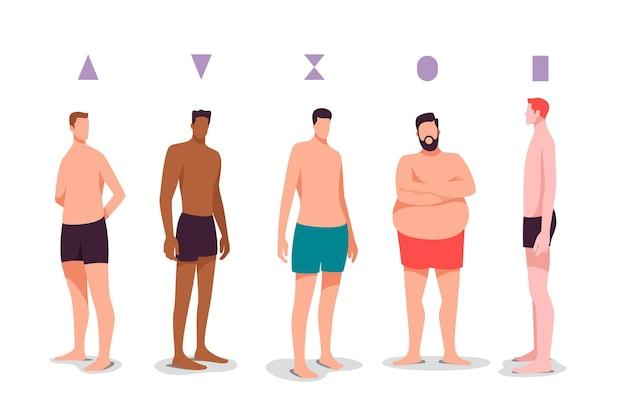 Ręcznie rysowane typy kształtów męskiego ciała