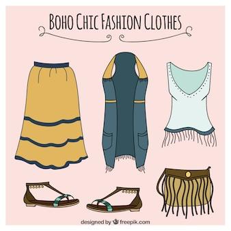 Ręcznie rysowane ubrania z akcesoriami w stylu boho