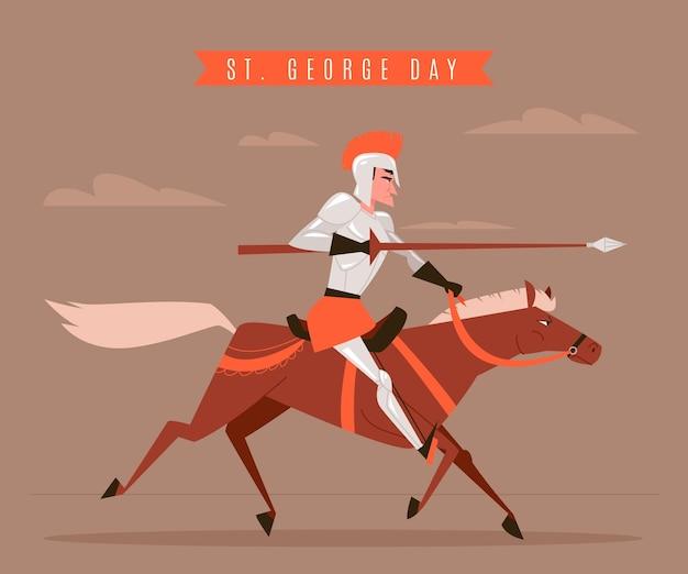 Ręcznie rysowane ul. ilustracja dnia jerzego z rycerzem