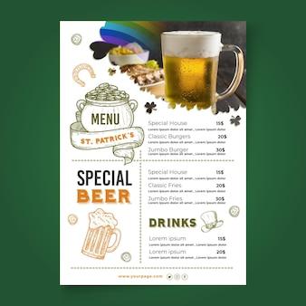 Ręcznie rysowane ul. patrick's day menu