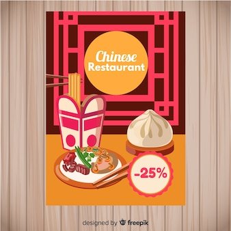 Ręcznie rysowane ulotki chińskie jedzenie