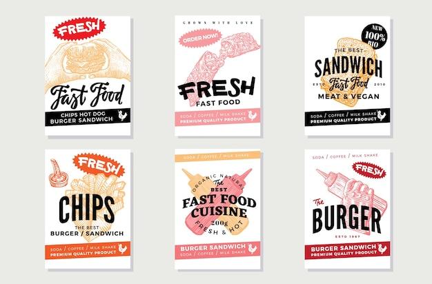 Ręcznie rysowane ulotki fast food