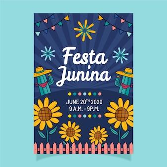 Ręcznie rysowane ulotki festa junina