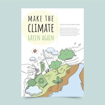 Ręcznie rysowane ulotki o zmianach klimatu