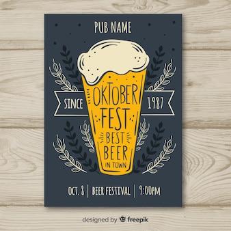 Ręcznie rysowane ulotki piwa oktoberfest