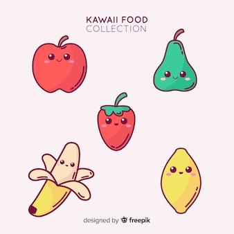 Ręcznie rysowane urocza kolekcja owoców