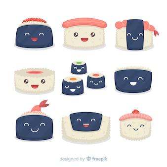 Ręcznie rysowane urocza kolekcja sushi