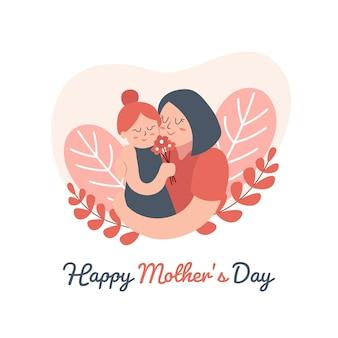 Ręcznie rysowane urocza mama i dziewczynka