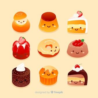 Ręcznie rysowane urocza słodka kolekcja