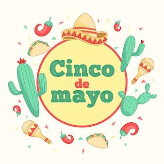 Ręcznie rysowane uroczystości cinco de mayo