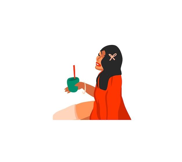 Ręcznie rysowane uroczysty ilustracja kreskówka dziewczyna pije koktajle na białym tle