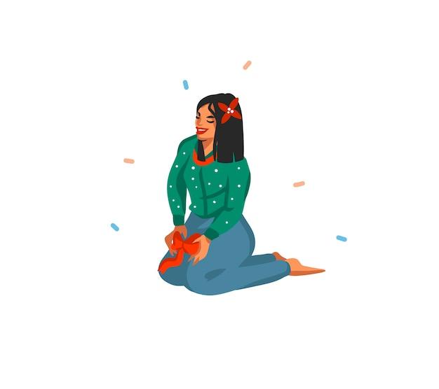 Ręcznie rysowane uroczysty ilustracja kreskówka dziewczyna siedzi i przygotowuje się do bożego narodzenia na białym tle
