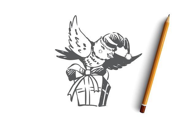 Ręcznie rysowane uroczysty ptak latający z szkic koncepcji prezent na boże narodzenie