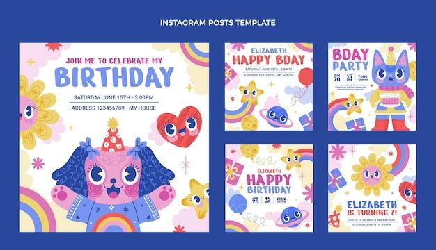 Ręcznie rysowane urodzinowe posty na instagramie