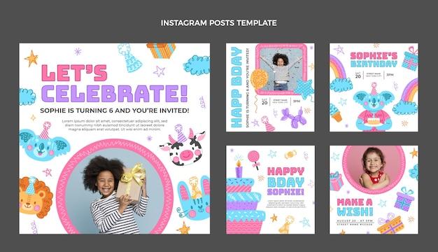 Ręcznie rysowane urodzinowy post na instagramie