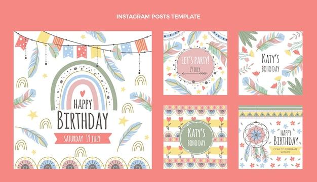 Ręcznie rysowane urodziny boho ig post