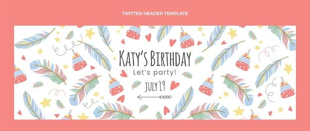 Ręcznie rysowane urodziny boho nagłówek twitter